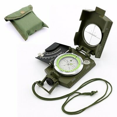 Professional Military Army Metal Sighting Compass Clinometer Camping Hiking - UK