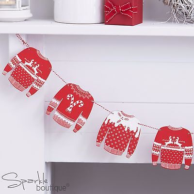 CHRISTMAS JUMPER WOODEN BUNTING-Red/White-Xmas Party Hanging Decoration-Garland