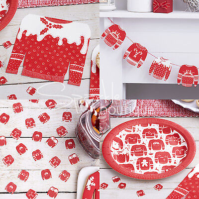 CHRISTMAS JUMPER PARTY SET - Plates/Napkins/Wooden Bunting/Table Confetti - Xmas