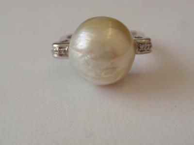 18Ct. Large Baroque Pearl & Diamond Ring By Nimei  C.  1950