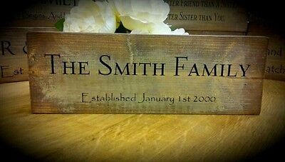 Shabby Chic Rustic Sign Plaque Personalised Surname Family Home Gift Wedding