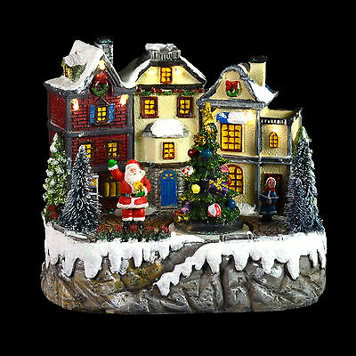 Light Up White LED Christmas Ornament Santa And Village Painted Resin Decoration