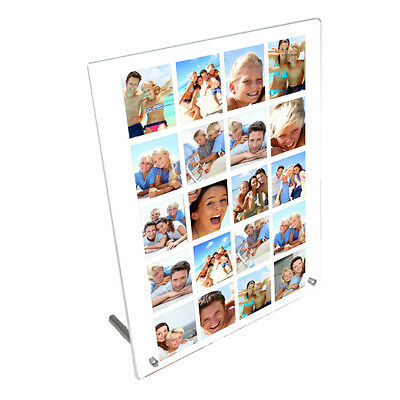 """Personalised 20 Photos Collage 8"""" x 10"""" Toughened Glass Panel With Peg Stand"""