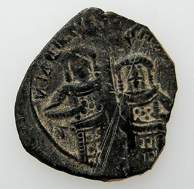 ANDRONICUS II & MICHAEL IX  1295-1320   COPPER TRACHY  1.75g/20mm   RRR    R-642