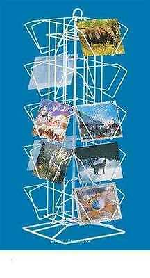 """Spinner Rack Post Card Counter  20 Pocket Holds 100 4"""" H x 6"""" W Cards White Wire"""
