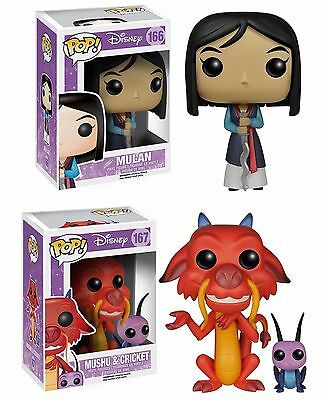 Funko POP Set of 2 Disney MULAN + MUSHU & CRICKET Vinly Figure Collectible Toy