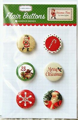 CHRISTMAS TIME Flair Buttons 6pc Adhesive Badges Carta Bella Paper