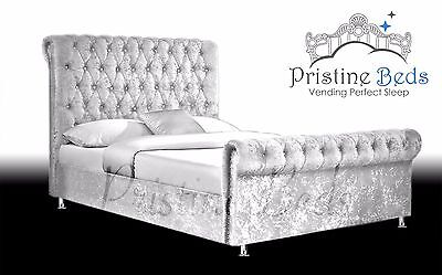 Crushed Velvet Fabric Upholstered Chesterfield Sleigh bed frame Double 4ft6, 5FT