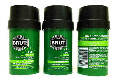 3 Brut ORIGINAL Scent 24 Hours Deodorant 2.5 oz WITH TRIMAX