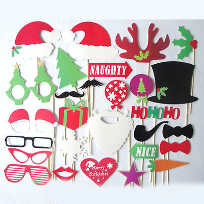 28pcs Christmas Photo Booth Props Mustache On A Stick Party Photography Wedding