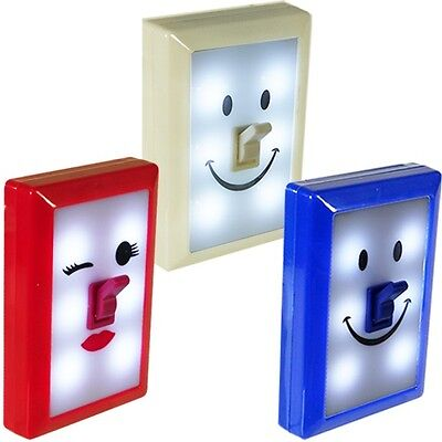 LED Fun Switch Emoji Night Lights w/ Emoticon Smiley Faces (WHOLESALE LOT OF 12)