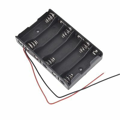 6x1.5V AA 2A CELL Battery Batteries Holder Storage Box 9V Case With Lead Wire TS