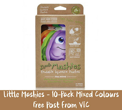 Reusable Food Pouches Little Mashies 10-Pack | FREE Post from VIC | Mixed Colour
