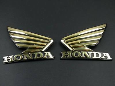 Gold 3D Wing Emblem Decal Motorcycles ABS Fuel Tank For Honda Stickers Custom