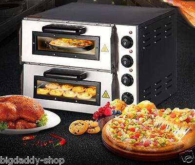 "220V 16"" Double Electric Pizza Oven Commercial Ceramic Stone S"