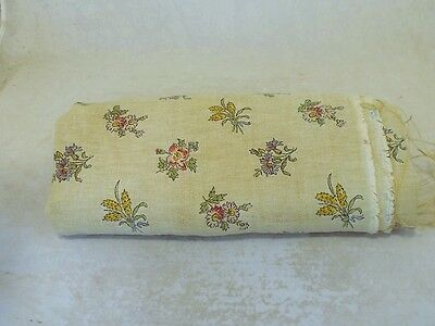 WONDERFUL FRENCH ANTIQUE FLORAL PRINTED LINEN FABRIC CIRCA 1900s HEAVY WEAVE