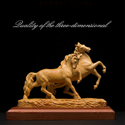 "11"" Chinese Boxwood Wood Carving Success Running Horse Horses Animal Statue"