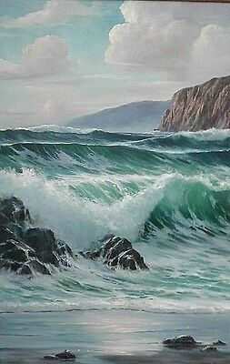 """Listed William Blackman Hawaii Seascape Blue Pacific Oil Painting 37x47"""" Large"""