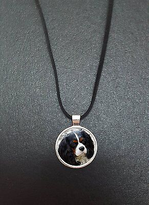 "Cavalier King Charles Spaniel Pendant On a 18"" Black Cord Necklace Gift N447"