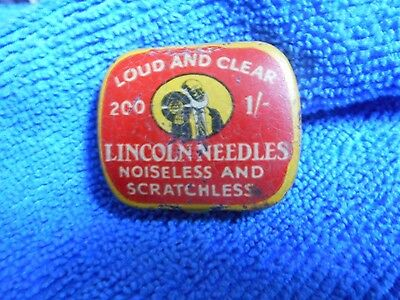 Vintage Rare 1/ Lincoln Gramaphone Needles Tin