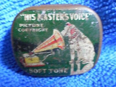 Vintage His Masters Voice Soft Tone Gramaphone Needles Tin
