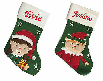 Personalised Luxury Embroidered Elf Xmas Stocking Sack Santa Deluxe Christmas