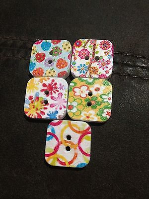 10 X 19mm Square Painted Wooden Buttons - Australian Supplier