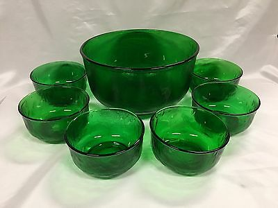 Vintage Retro Green large serving Bowl textured pattern glass 7PCE Set
