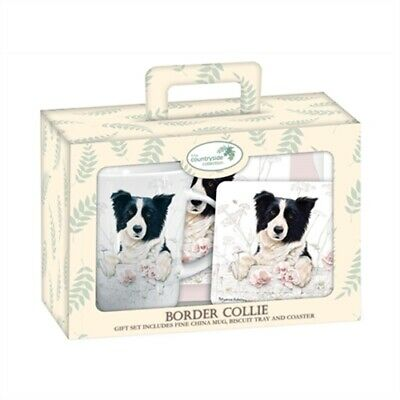 Border Collie Tea Time Gift Set.  Collie Mug, Biscuit Tray & Coaster. FREE P&P