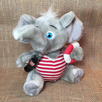 "Coca-Cola Plush Coke 9"" Elephant 1993 Bathing Swimming Lifeguard"