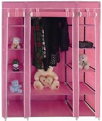 New Pink Triple Canvas Wardrobe Bedroom Home Hanging Clothes Storage Cupboard