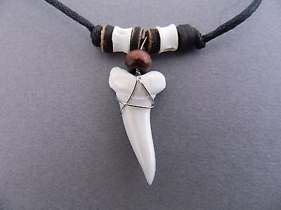 LARGE 2cm SHARK TOOTH NECKLACE REAL SHARKS TEETH PENDANT bone beads