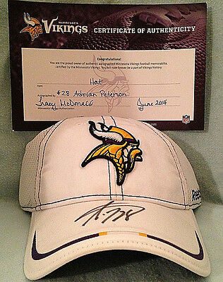 Authentic Adrian Peterson Autographed Reebok Hat Certificate Of Authenticity