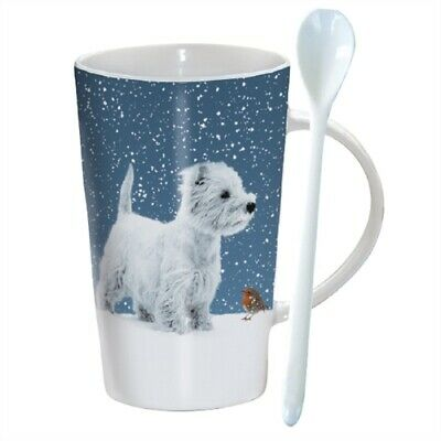 Winter Westie Hot Chocolate Mug & Matching Spoon - Ideal Gift for Westie Lover