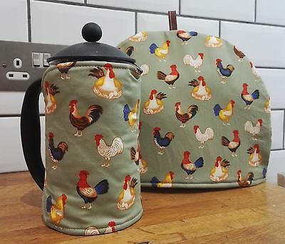 Chicken Hens Cockerel Rooster Tea Cosy or Cafetiere Cosy - select cafetiere size