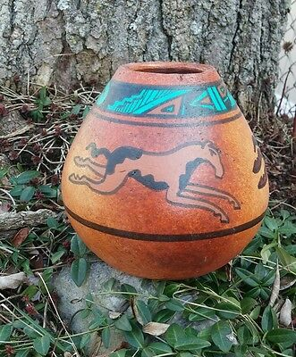 Handcrafted Southwest Cave Art Clay Vase Pot Horses Mustang Signed Turquoise #1
