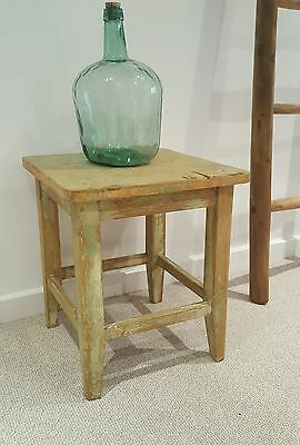 Vintage Milking Stool Vintage french painted stool distressed side table
