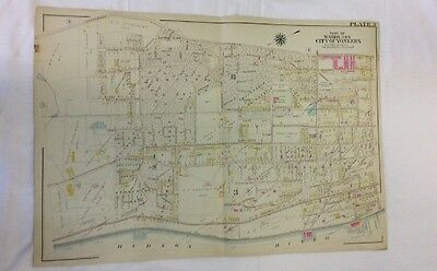 1898 Yonkers Wards 3 & 6 Linen Colored Atlas Map Plan Plot colored graphics