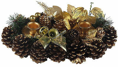 Gold Christmas Table Centre Piece Twin Candle Holder 30 cm Decoration