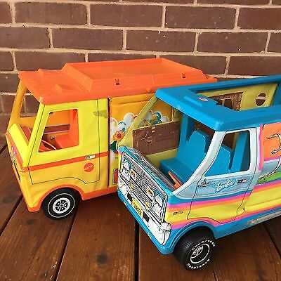 LOT: 2 Vintage Mattel Barbie Beach Bus Country Camper Vehicles Vinyl 1971 1973