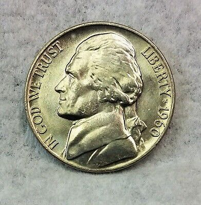 1960 P Jefferson Nickel, BU, Mintage of Only 57 Mil,  From OBW Rolls, Ship Free