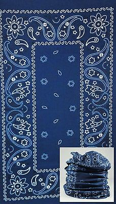 Blue Paisley FACE MASK WARMER Scarf Balaclava Neck Gaiter Head Headband Bandana