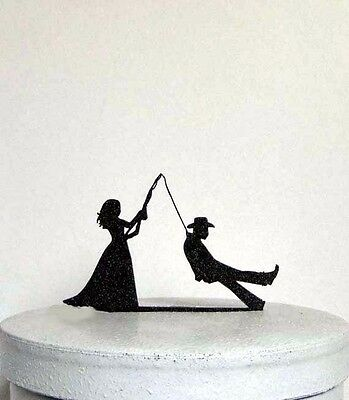 Funny and Unique Wedding Cake Topper - Bride fishing Groom!