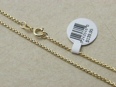 Pure 14K Solid Yellow Gold Box Necklace Real Gold Chain Diamond Cut 1.5mm 14kt