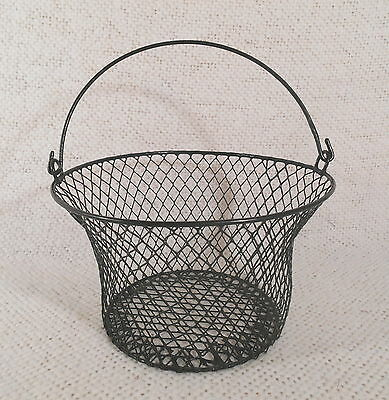 "Lightweight 5"" Tall Black Iron Wire Gathering Egg Basket w/ Flexible Handle"