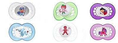 MAM Fairytale 2 Pk Baby Pacifier Soother Dummies 4-24 Months 3 Colours Silicone