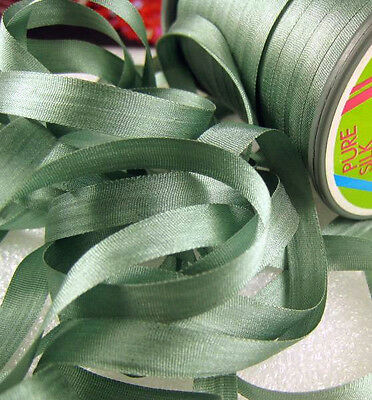 """YLI #32 Japanese Pure Silk Embroidery Ribbon Sage Green 7mm 1/4"""" wide"""