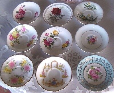 9 Mixed English Tea Saucers/Plates- Florals - Queen Anne, Roslyn, Royal Albert