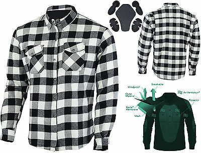 Motorcycle Flannel Lumberjack Shirt Lined WITH DuPont™ KEVLAR® ARAMID White/BLK