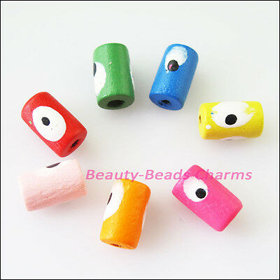70 New Charms Mixed Wood Wooden Tube Eyes Spacer Beads DIY 10mm